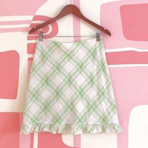 Plaid Pull On Mini Skirt With Ruffle Hem